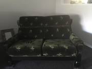 Olive green lounge suite 2double and 1single chair