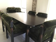 Olive green material dining suite